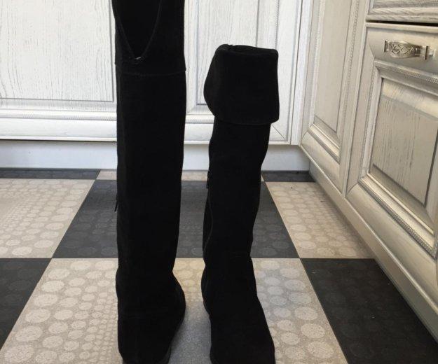 Осенние замшевые чёрные сапоги ботфорты. Фото 3.