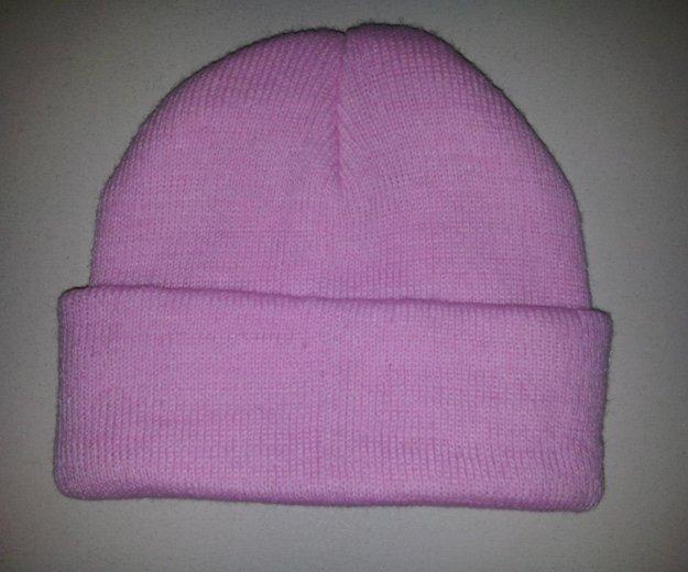 Новая шапка вязка (one size) розовая. Фото 2.