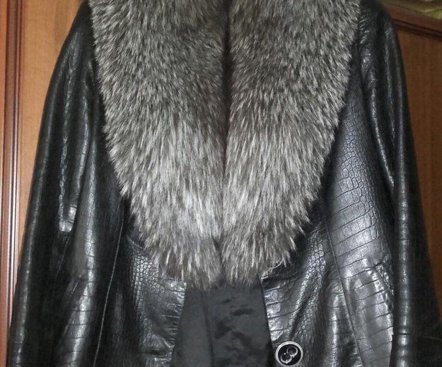 Куртка кожаная.мех-чернобурка. Фото 1. Магнитогорск.