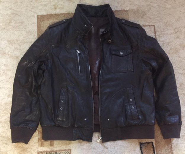 Куртка кожаная (темно коричневая). Фото 1. Новомосковск.