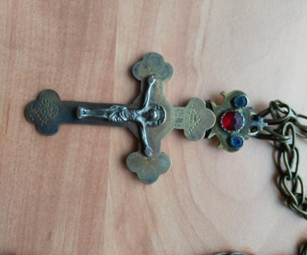 Крест иерейский 18 век , латунь , серебро , камни. Фото 1. Москва.
