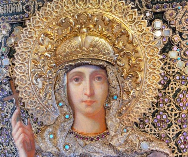 Икона 1874 года княгиня ольга 34,9 х 27,9 оклад. Фото 1. Москва.