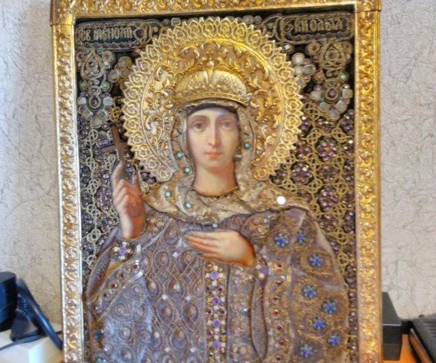 Икона 1874 года княгиня ольга 34,9 х 27,9 оклад. Фото 2. Москва.