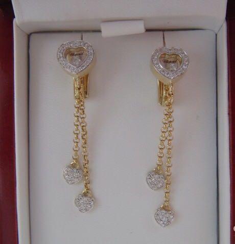 Новые золотые серьги с брил. 0.45 ct chopard 585. Фото 1. Москва.