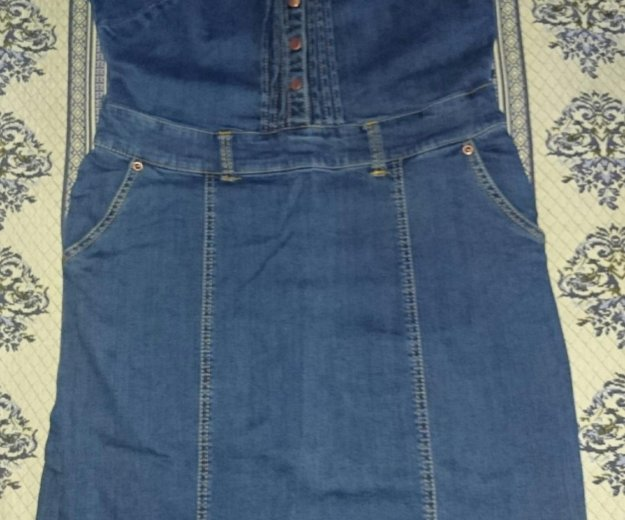 Платье джинсовое,  новое, стрейч.р.48. Фото 1. Туапсе.