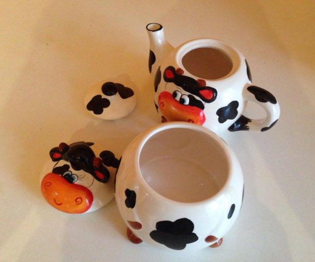 Керамический набор : чайник и сахарница. Фото 4. Екатеринбург.