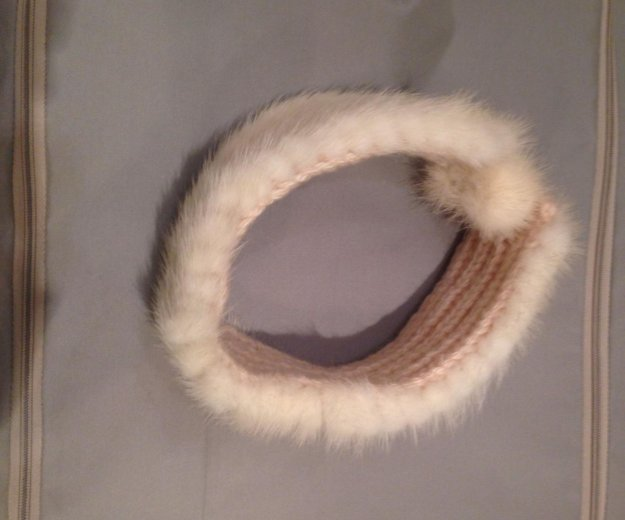 Вязаная повязка на голову из норки. Фото 2. Москва.