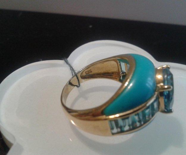 Кольцо золотое 585 с бирюзой. Фото 2. Москва.