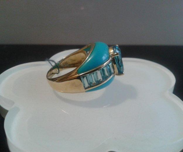 Кольцо золотое 585 с бирюзой. Фото 3. Москва.