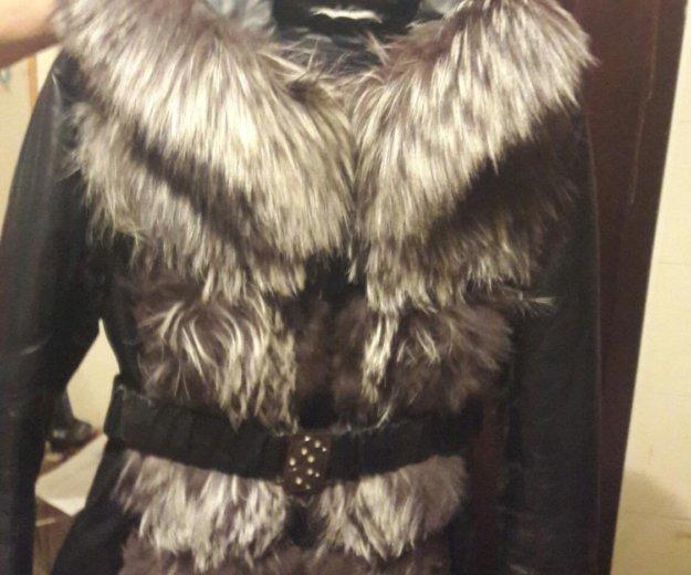 Зимняя кожаная куртка с поясом. Фото 1. Калуга.