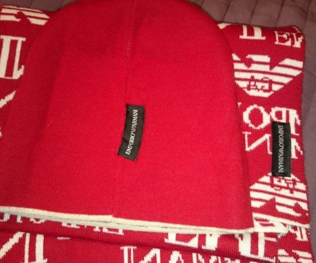 Комплект emporio armani шарф и шапка. оригинал. Фото 3.