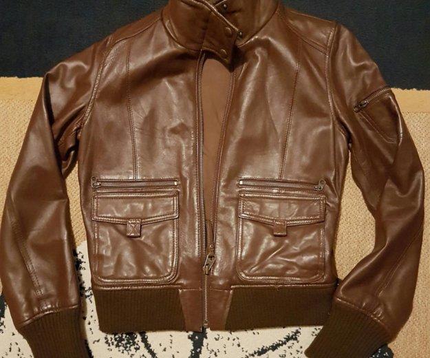 Кожаная куртка mango коричневая. Фото 1. Москва.