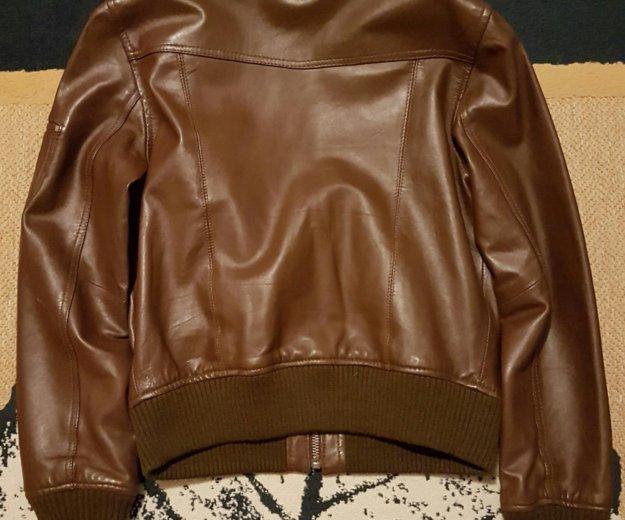 Кожаная куртка mango коричневая. Фото 2. Москва.