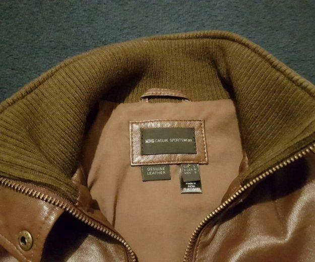 Кожаная куртка mango коричневая. Фото 4. Москва.