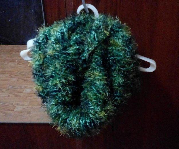 Хомут снуд труба. зеленый мохнатый. новый. Фото 1. Красноярск.