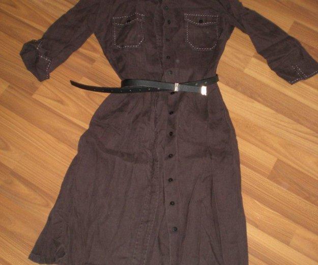 Платье лен 100%, стильное, под ремешок. Фото 1. Челябинск.