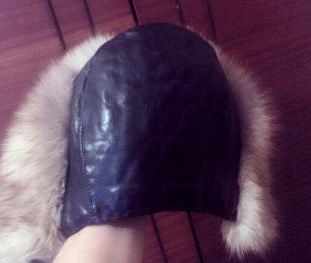 Шапка кожаная,  мех натуральный очень тёплая. Фото 1. Батайск.
