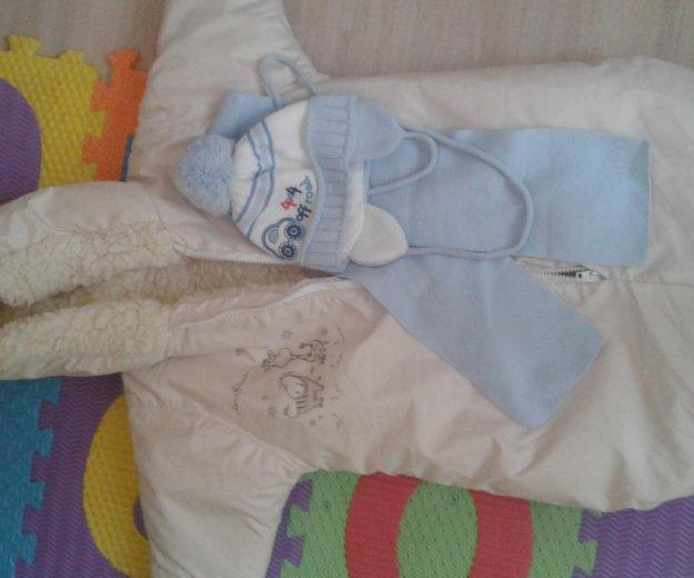 Зимний конверт+шапочка с шарфиком. Фото 2.
