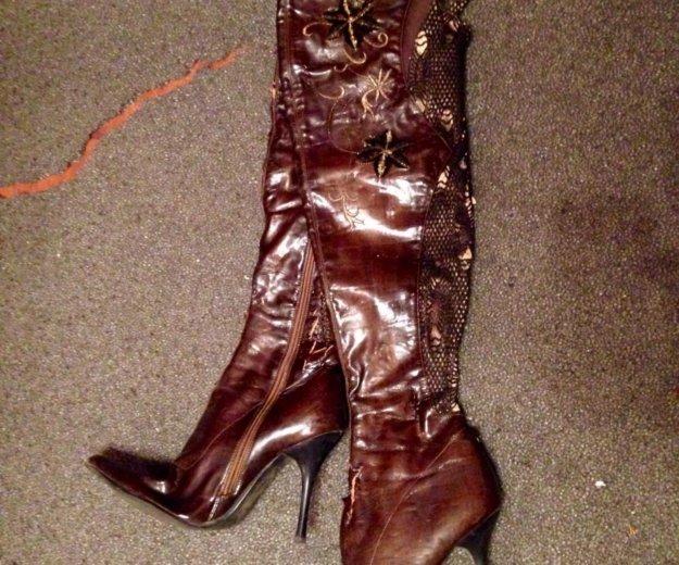 Сапоги-ботфорты коричневые. Фото 1. Москва.