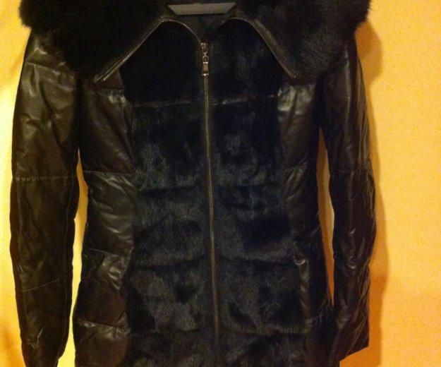 Пуховик кожаный зимний. Фото 2.