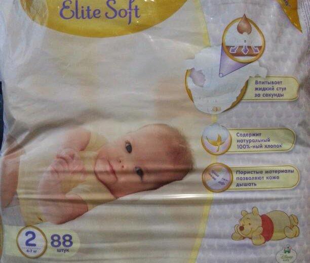 Подгузники huggies elite soft 2 (4-7 кг) 88 шт. Фото 1. Архангельск.