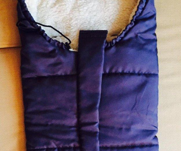 Зимний конверт с коляску на овчине. Фото 1.