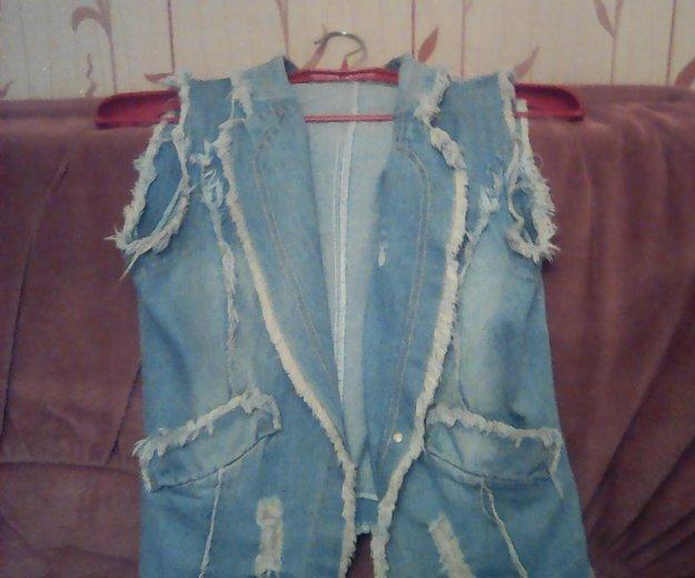 Жилетка и шорты джинсовые,48р-р. Фото 2.