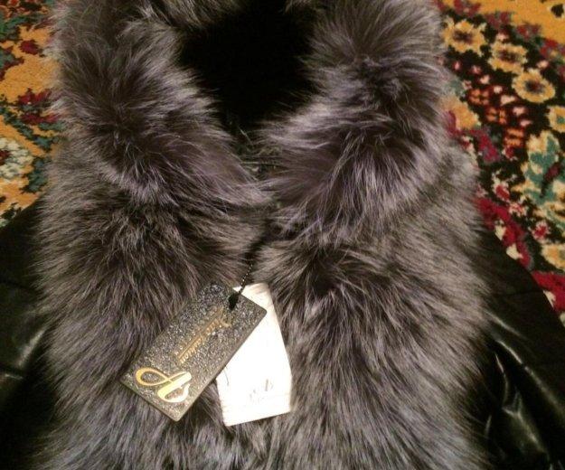 Новая кожаная куртка с натуральным мехом. Фото 3.