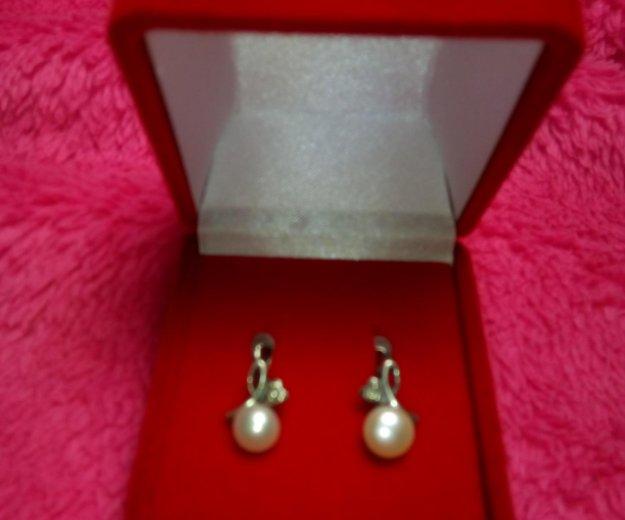 Серьги серебряные с жемчугом. Фото 4. Смоленск.