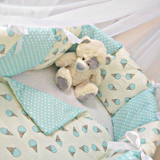 Бортики-подушки текстильный набор в кроватку. Фото 2. Санкт-Петербург.