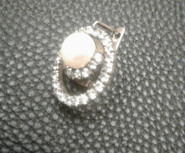 Комплект. серьги серебро с жемчугом и фианитами.. Фото 2. Железнодорожный.