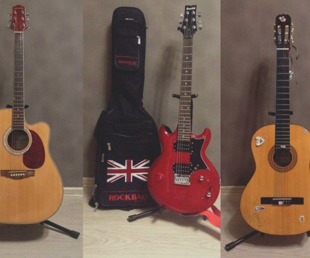 3 гитары: электроакустич., электро, классическая. Фото 1. Москва.