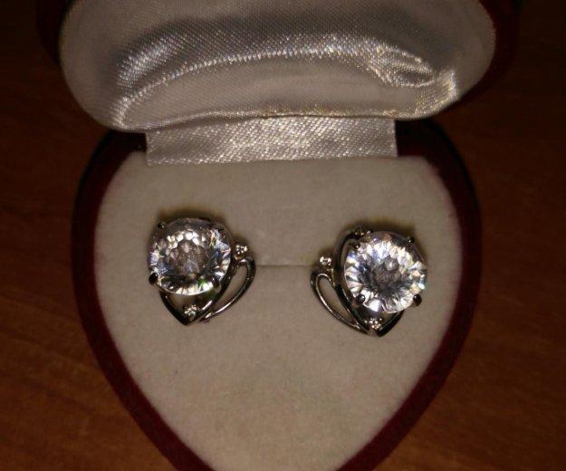Серьги кольцо фианит. Фото 1. Обнинск.