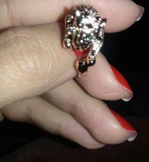 Кольцо пантера с кристаллами. Фото 2. Москва.