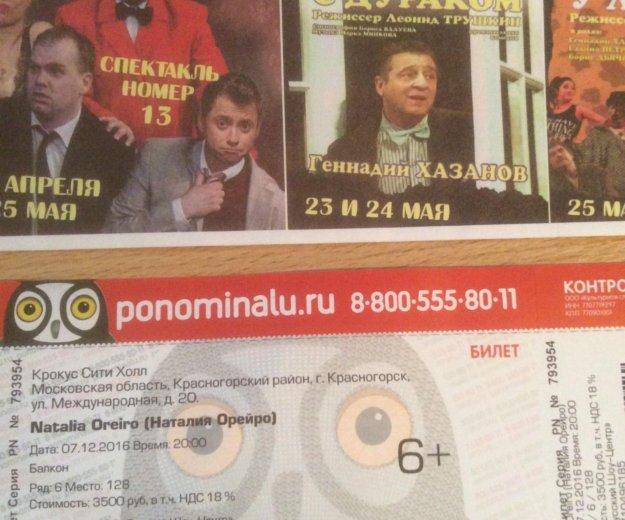 Билет на концерт наталии орейро. Фото 1. Москва.
