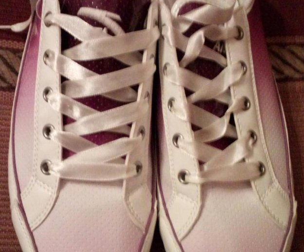 Женские бело-фиолетовые кеды. Фото 4. Балашиха.