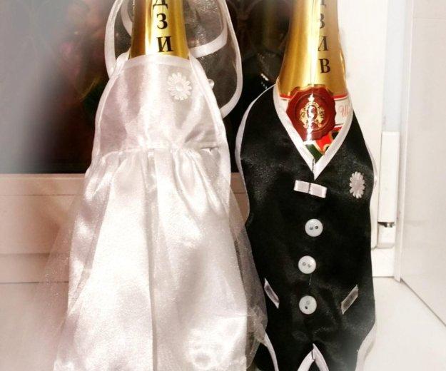 Свадебное украшение на бутылку шампанское. Фото 1. Самара.