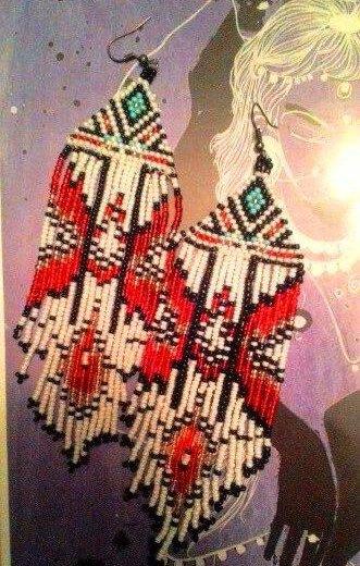 Серьги из бисера в этническом стиле. Фото 2. Бор.