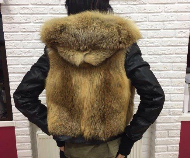 Зимняя куртка : кожа, лиса. Фото 2. Санкт-Петербург.