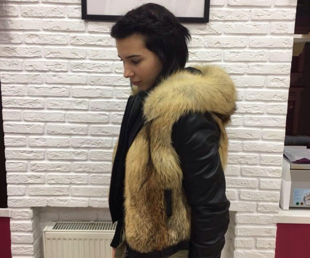 Зимняя куртка : кожа, лиса. Фото 3. Санкт-Петербург.