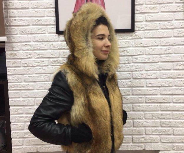 Зимняя куртка : кожа, лиса. Фото 1. Санкт-Петербург.