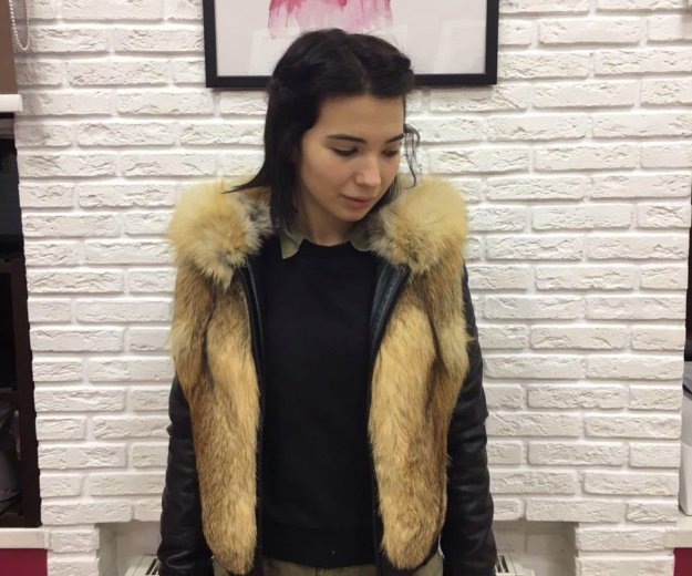 Зимняя куртка : кожа, лиса. Фото 4. Санкт-Петербург.