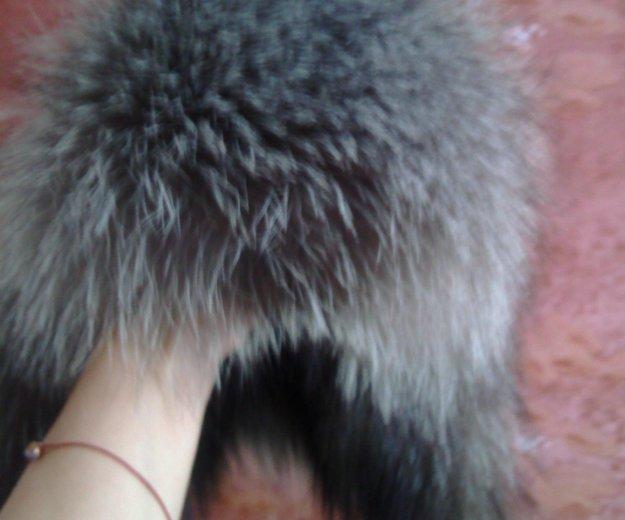 Кожанная шапка ушанка с мехом чернобурки. Фото 4. Москва.