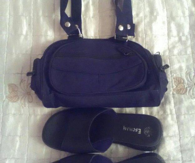 Шлепки + сумка, из больньевой ткани, черные. Фото 1. Москва.