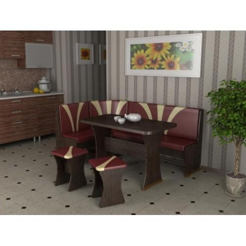 Кухонный уголок титул-2 (дуб венге,к/з:бордо/какао. Фото 1. Кемерово.