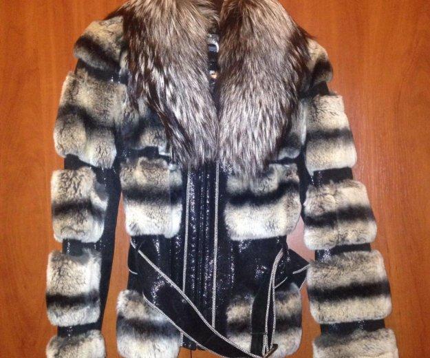 Кожаная куртка с мехом чернобурки и шиншиллы. Фото 1. Химки.