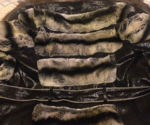 Кожаная куртка с мехом чернобурки и шиншиллы. Фото 2. Химки.