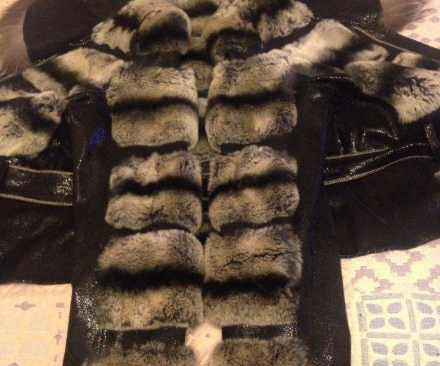 Кожаная куртка с мехом чернобурки и шиншиллы. Фото 3. Химки.