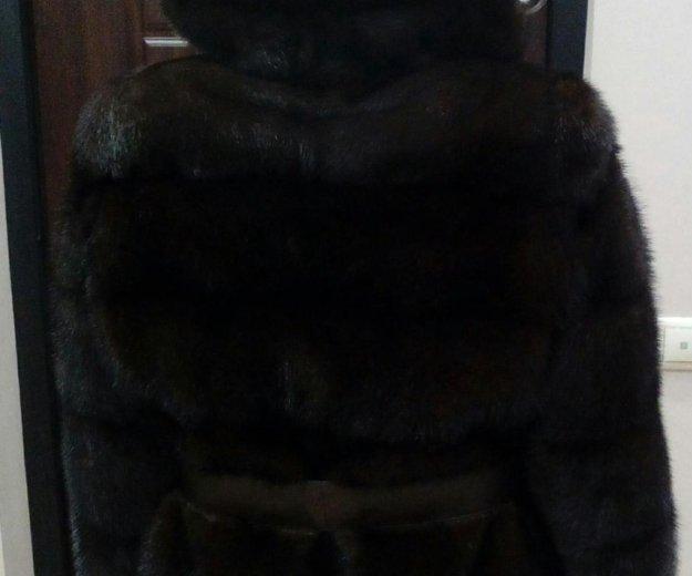 Новая норковая шуба поперечка с капюшоном. Фото 1. Москва.