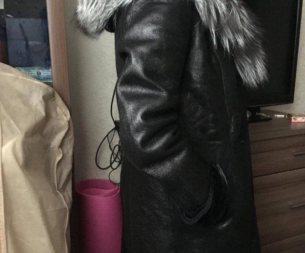 Дубленка чёрная с капюшоном. Фото 4. Москва.